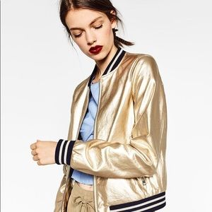 Gold-toned Bomber Jacket Zara Outerwear Woman
